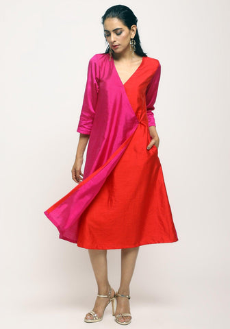 Pink Contrast Overlap Dress