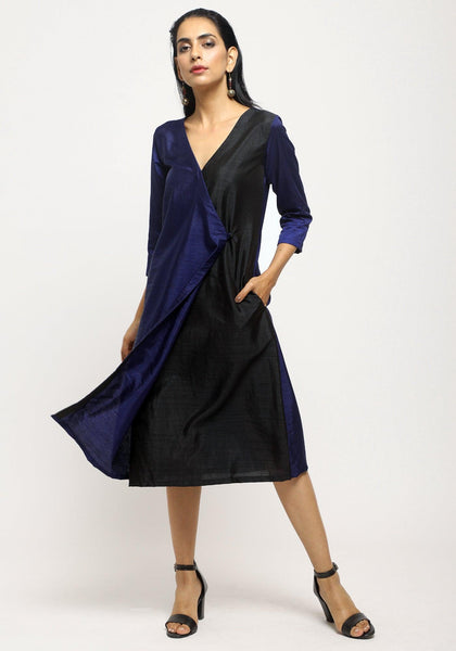 Blue Contrast Overlap Dress