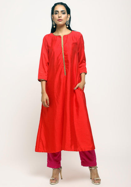Orange Laced Kurta Set