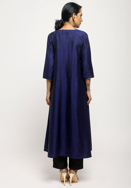 Blue Laced Kurta Set