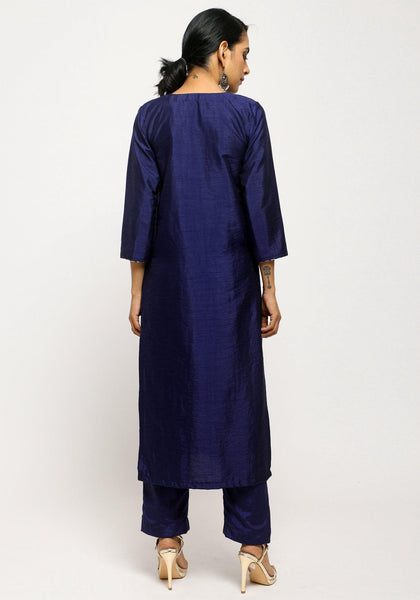 Blue Foil High Slit Kurta