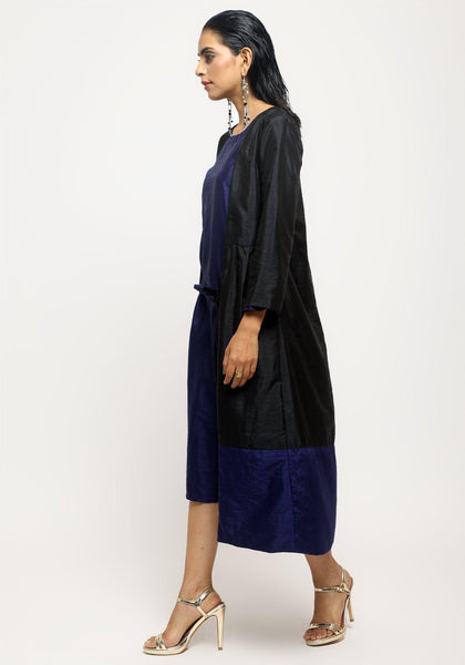 Black Blue Silk Jacket