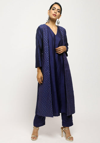 Blue Foil Jacket Kurta Set