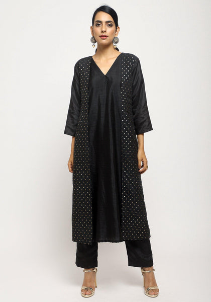 Black Foil Jacket Kurta Set
