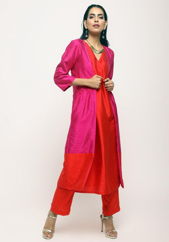 Pink Orange Jacket Kurta Set