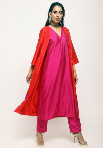 Orange Pink Jacket Kurta Set