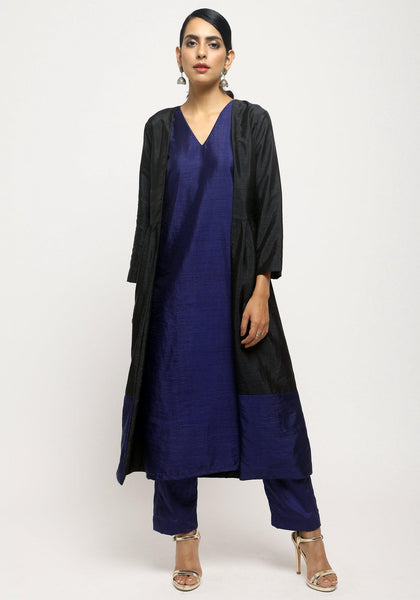 Black Blue Jacket Kurta Set