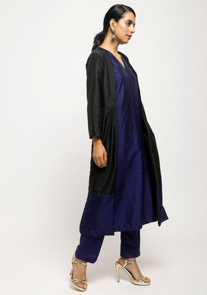 Blue Silk Kurta Jacket Set