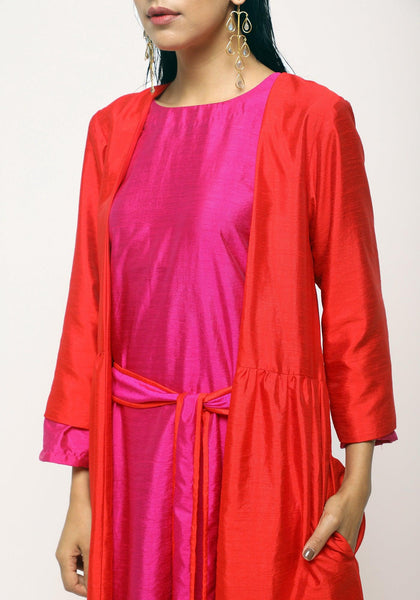 Orange Pink Jacket Dress Set