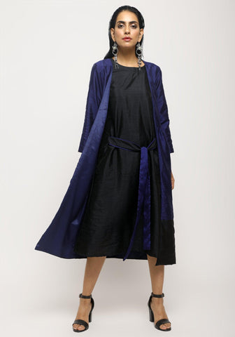 Blue Black Jacket Dress Set