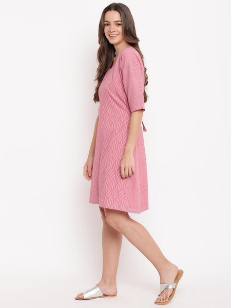 Pink Dobby Tie-up Dress