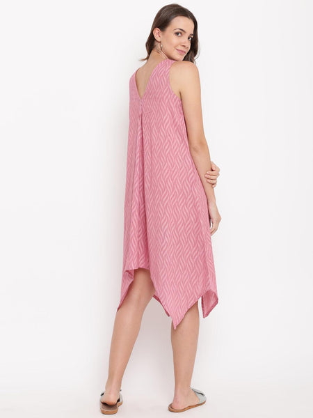 Pink Dobby V-Asymmetric Dress