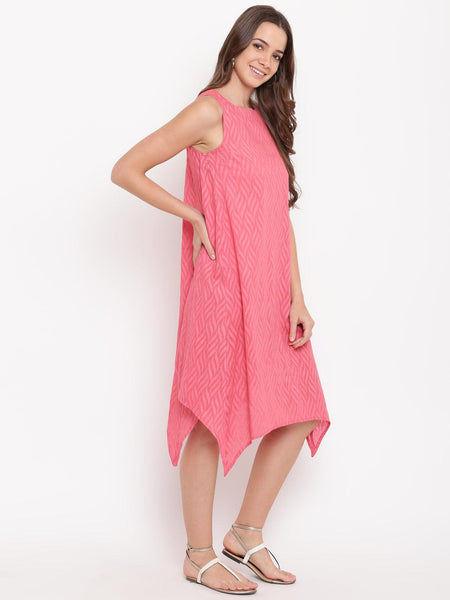 Brick Pink Dobby Asymmetric Dress