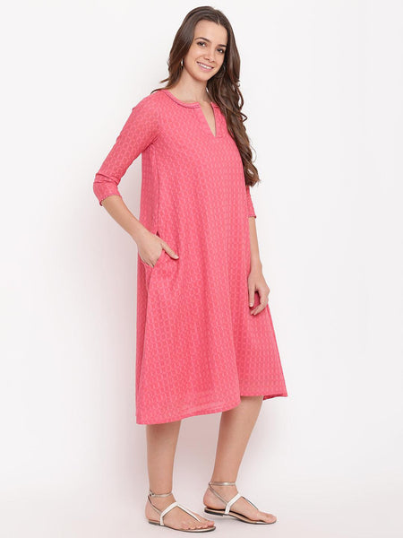Brick Pink Dobby Grid Flared Dress
