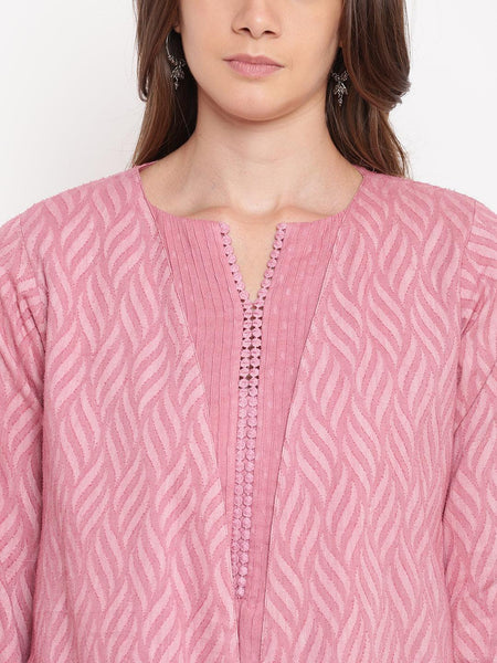 Pink Pin-Tucks Dress Reversible Jacket