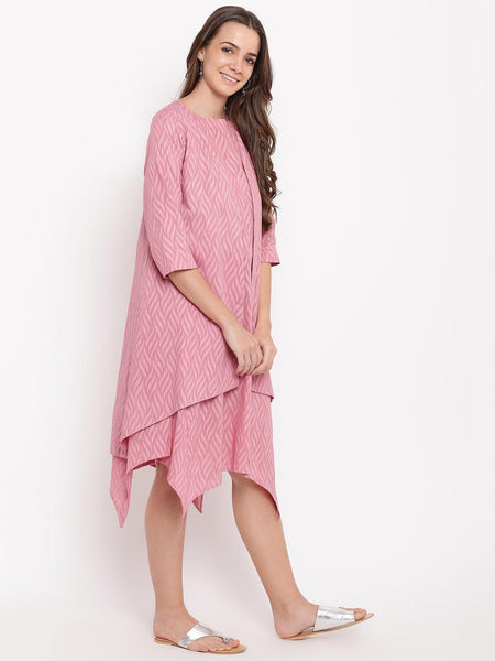 Pink Dobby Asymmetric Dress Reversible Jacket