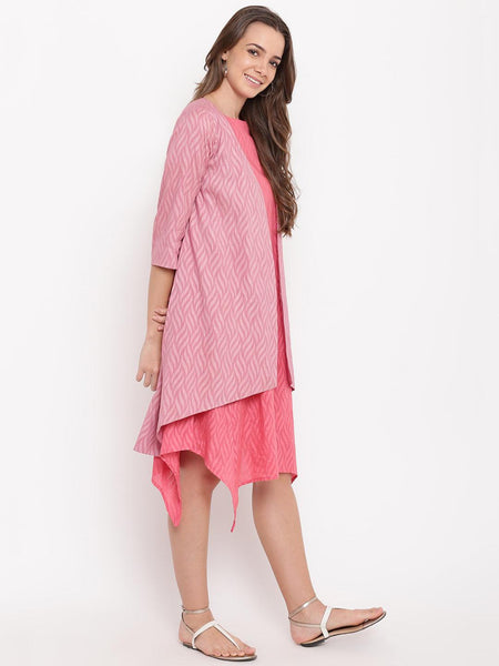 Brick Pink Dobby Asymmetric Dress Reversible Jacket