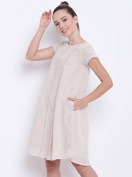 Beige Khadi Lace Dress