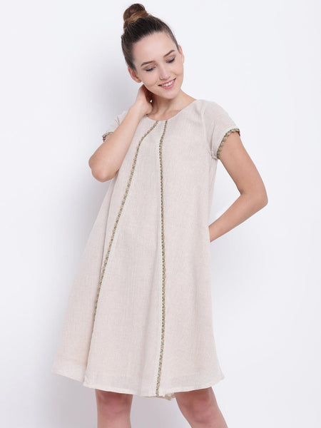 Beige Khadi Jute Dress