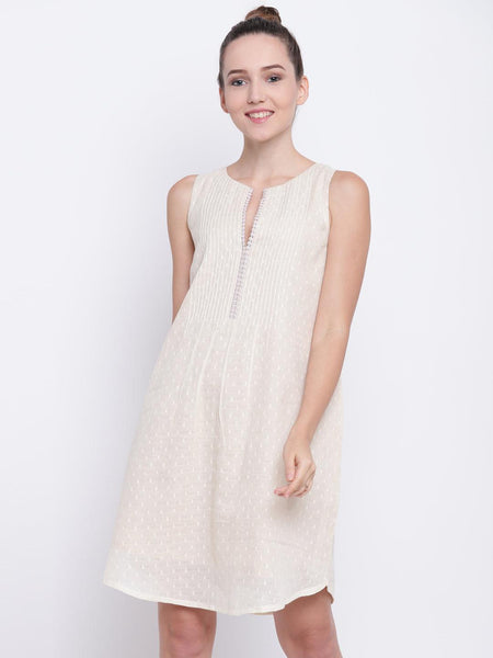 Ivory Pin-Tuck Dress