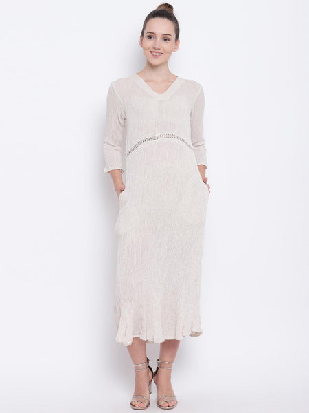 Beige Crinkle Long Dress