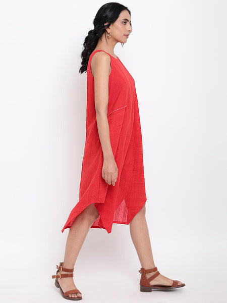 Red Dobby Panelled Dress