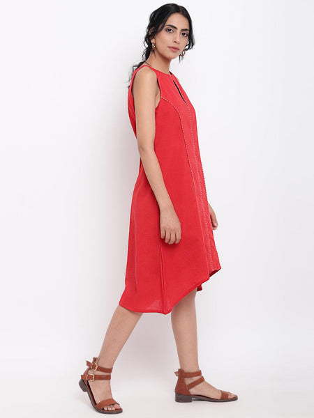 Red Center Lace Dress