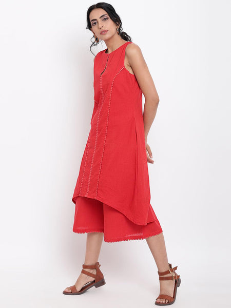 Red Center Lace Kurta-Pant
