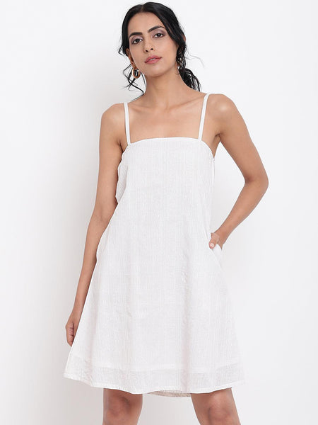 White Cotton Strap Dress
