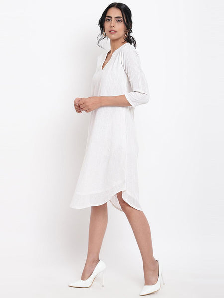 White Dobby Kurta Dress