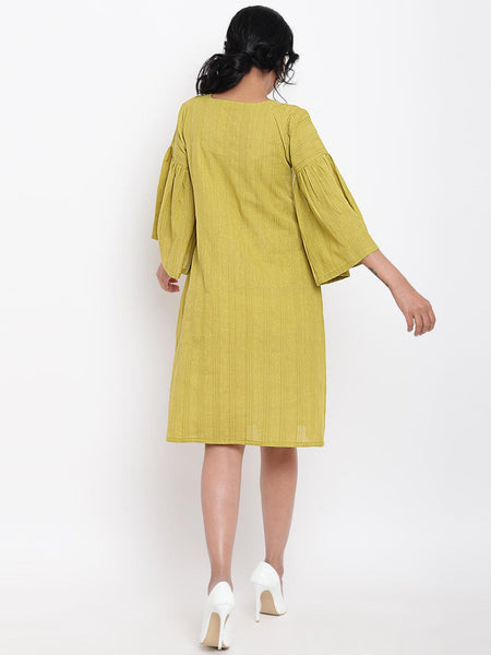 Green Cotton Gathered Sleeve Dress