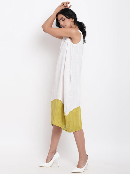 White Green Horizontal Panel Dress