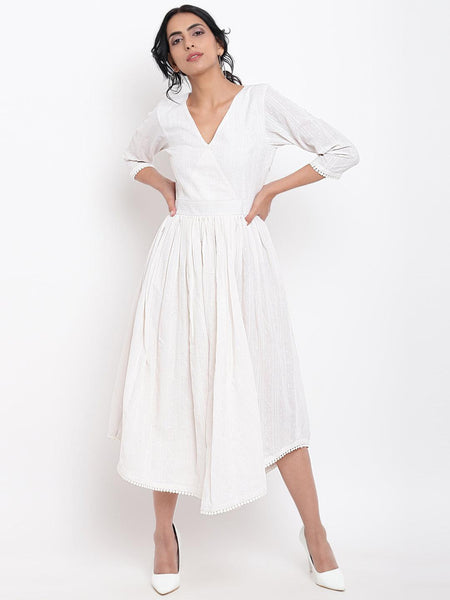 White Cotton Overlap Flare Dress