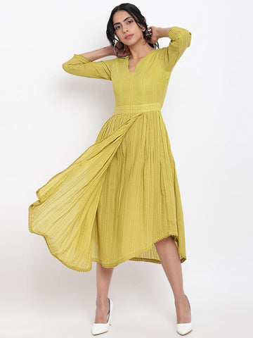 Green Cotton Overlap Flare Dress