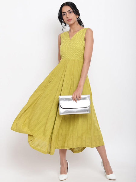 Green Cotton Panelled Flare Dress