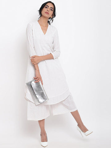 White Dobby Kurta Set