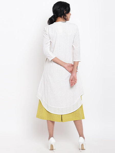 White Cotton Kurta Green Pant
