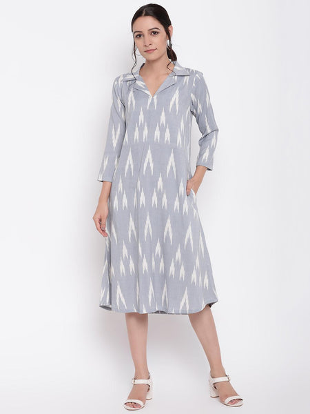 Blue Print Collar Dress