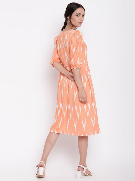 Orange Print Button Dress