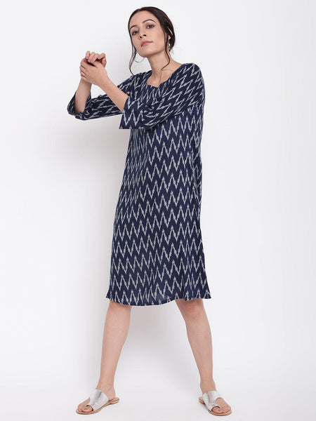 Blue Ikkat Print Cuff Dress