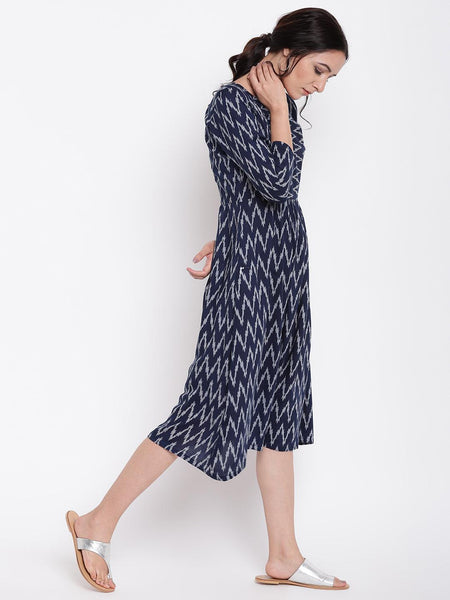 Blue Ikkat Print Gather  Dress