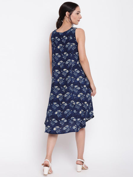 Blue White Floral Dress
