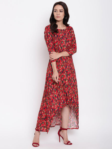 Red Floral Asymmetric Dress