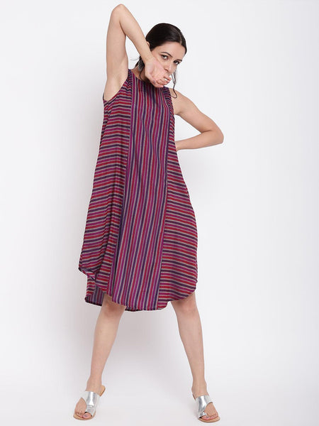 Pink Blue Stripe Kurta Dress