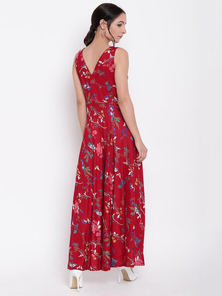 Red Stem Flower Flared Dress