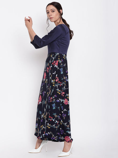 Blue Stem Flower Flared Dress