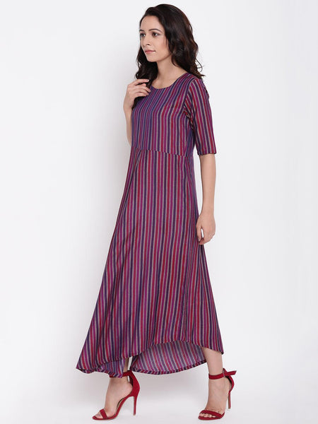 Pink Blue Stripe Flared Dress