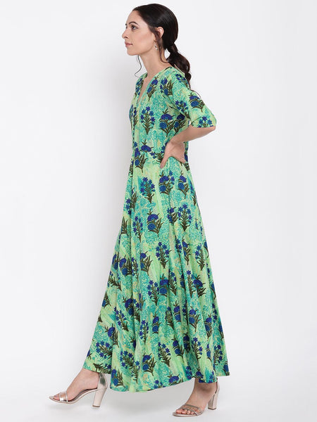 Green Floral Button Dress