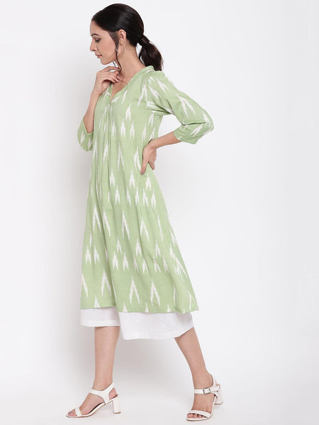 Green Ikkat Print Kurta Set
