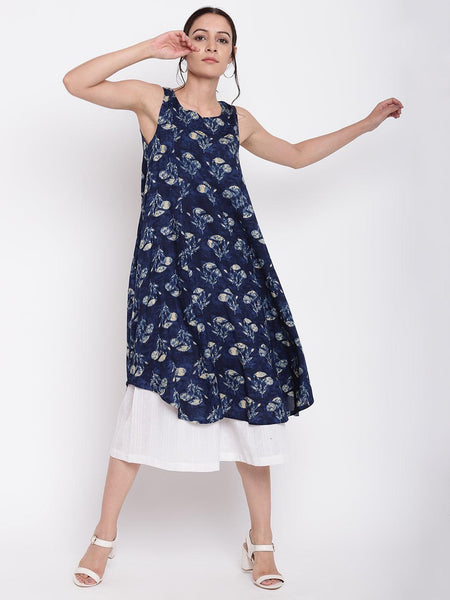 Blue White Floral Kurta Set
